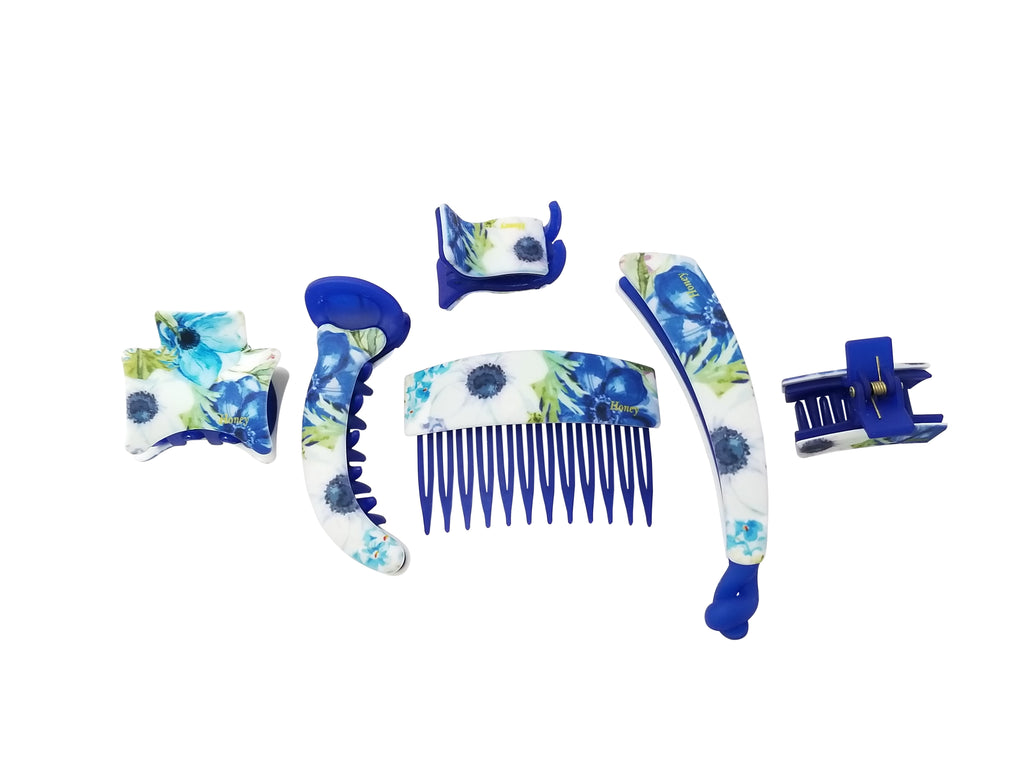 Evogirl Evogirl Claw Clips Floral Garden Matte Print Combo Hair Styles Matte Finish Royal Blue (Pack of 6)/rb1193