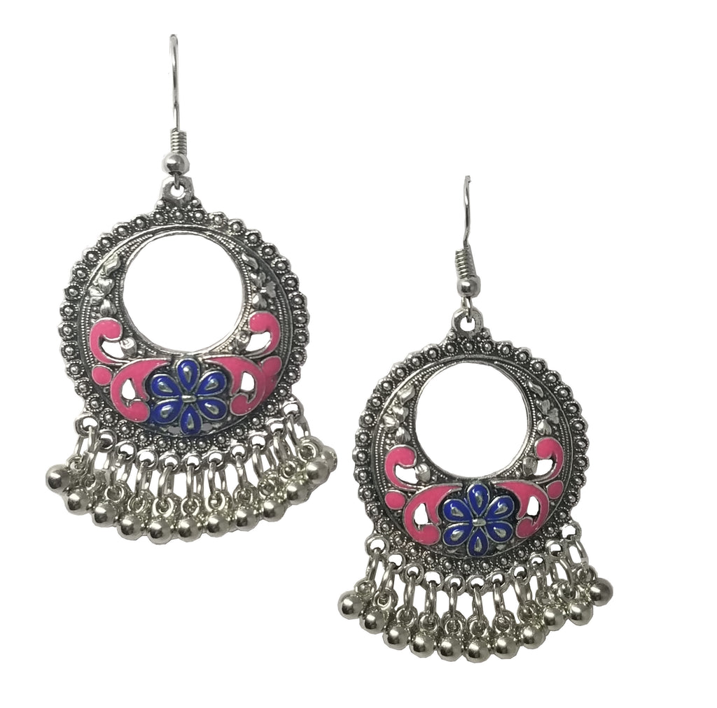 Evogirl Evogirl Earings Oxidised Hoop Moon Shape Ghughri Blue & Pink Meenakari Silver Plated, Med, For Women/rb1725