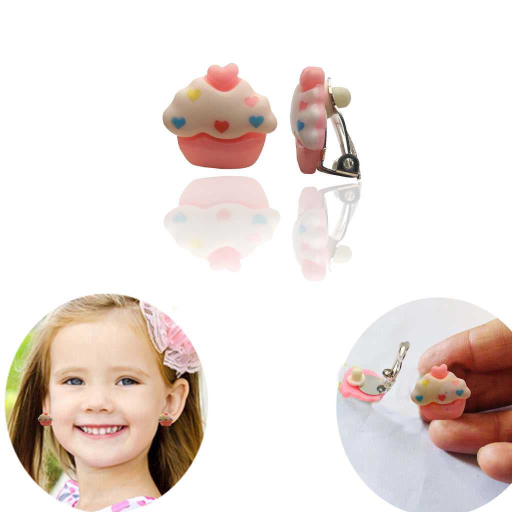 Evogirl Cupcake Earing No Hole Earings Without Piercing Resin Ear Cuff Earring jewelary Pink,Small, For Children/Girls