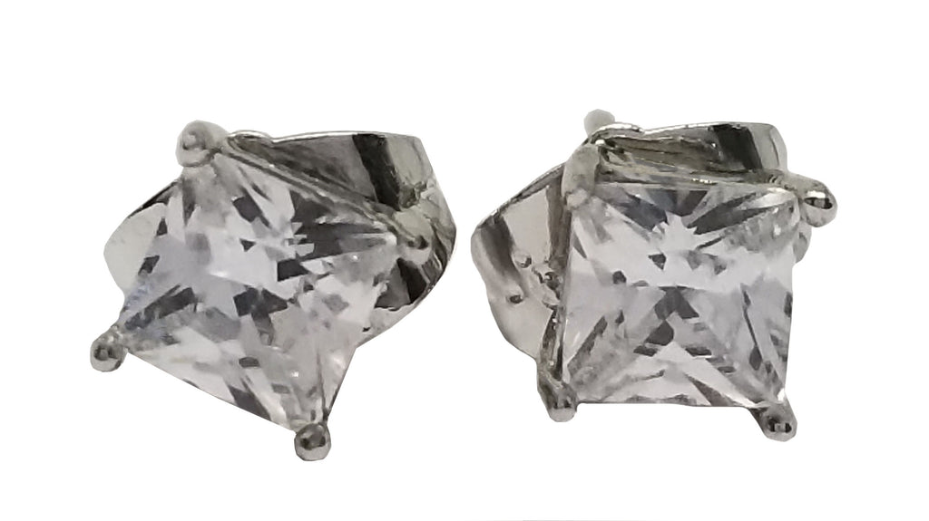 Evogirl Evogirl Earings Dimond Square Shape Sturd Tops Silver Plated, Small, For Women/rb1718