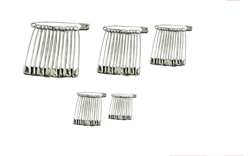 Evogirl Evogirl Safety Pin Combo of 5 Metal Saree Pin Lock Pin Silver, xs,s,med,Large,XL (Pack of 60)/rb1860
