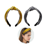 Evogirl Head Bands Pearl Boardered Twisted Knot Fabric Hair BandMusterd Yellow, Grey,Large, for Women/Girls