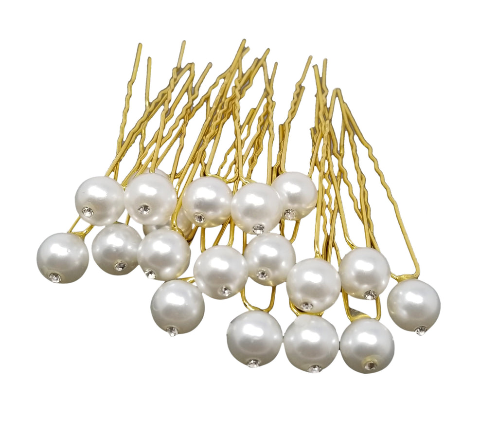 Evogirl Evogirl Bobby Pins Diamond Hair Pins Bridal Salon Accessories Fancy Pearl Dimond Golden/rb1271