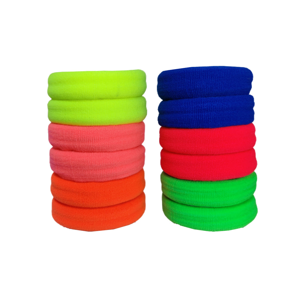 Evogirl Rubber Bands Neon Shade Soft Fabric Ponytailers Elastic Hair Ties Strechable Hair Bands Multicolor, Large, for Women/Girls (Pack of 12)
