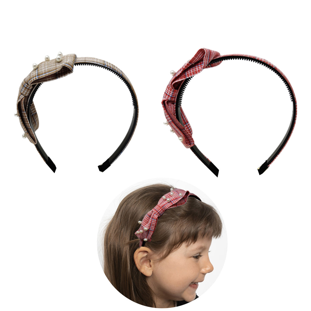 Evogirl Head Bands Pearl Checkers Print Big Bow Fabric Hair BandBrown, Red,Large, for Women/Girls