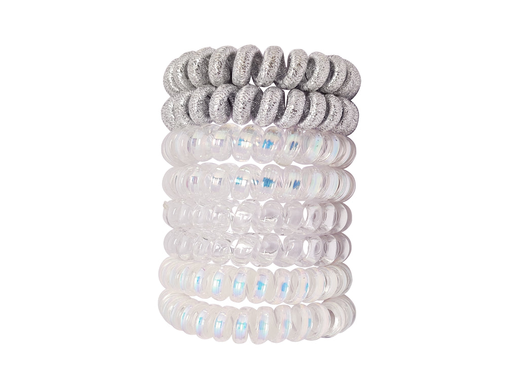 EVOGIRL Spiral Shaped Hair Ties Telephone wire style White and Grey Shiny Shade  Rubber bands,8 Pk