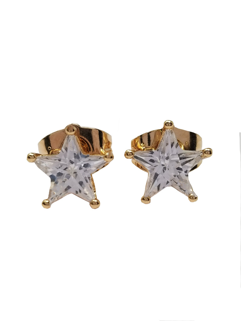 Evogirl Evogirl Earings Dimond Star Shape Sturd Tops Gold Plated, Med, For Women/rb1717