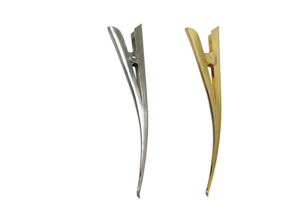 EVOGIRL Combo Of 2 Alligator Hair Style Tool French Style Metal Good Grip 12 cm Silver, Gold Large