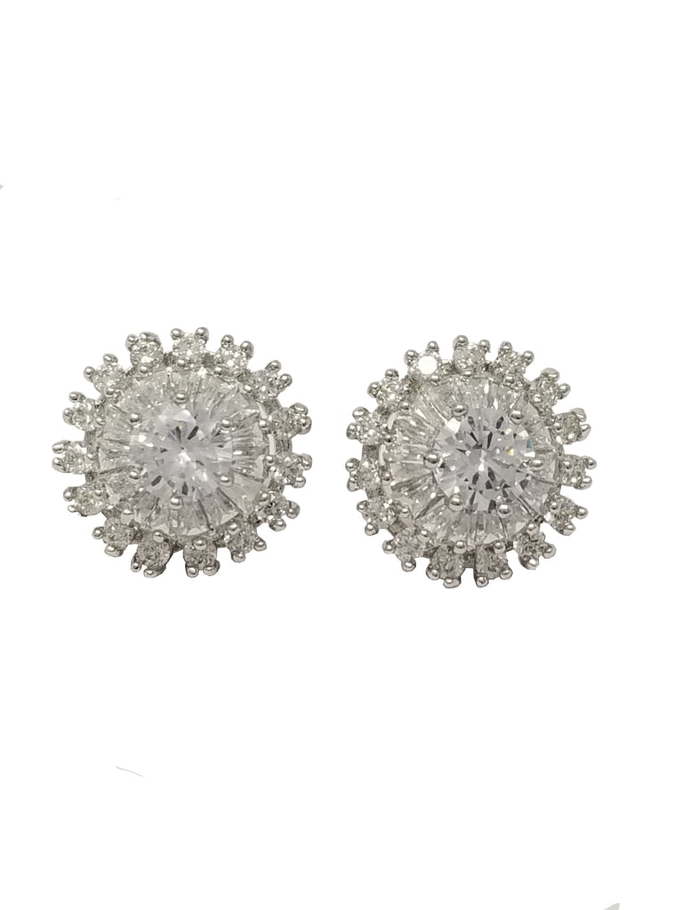 Evogirl Evogirl Earings Crystals Sunflower Designer Dimond Studded Tops Silver Plated For Women/rb1693