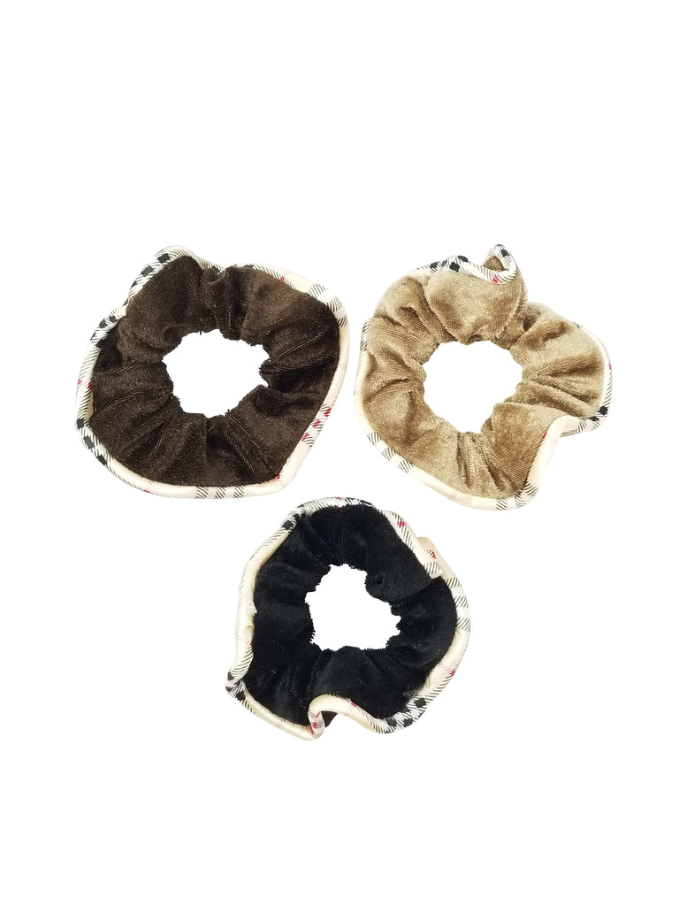 Evogirl Evogirl Scrunchies Velvet Quilted Print Basic Shades Black,Brown,Beige (Pack of 3)/rb1067