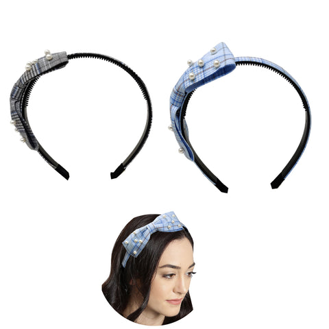 Evogirl Head Bands Pearl Checkers Print Big Bow Fabric Hair BandBlue, Black,Large, for Women/Girls