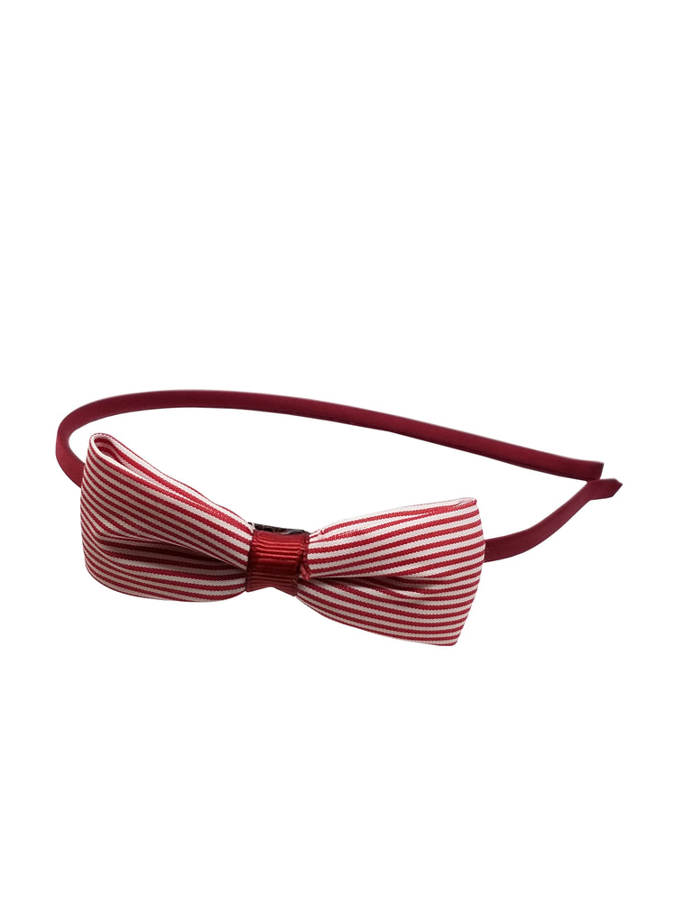 Evogirl Evogirl Head Bands Princess Bow Cotton Soft Fabric Stripes Hair Band for Casual, Maroon/rb1159