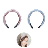 Evogirl Head Bands Pearl Lining Print Twisted Knot Fabric Hair BandSky Blue,Pink,Large, for Women/Girls