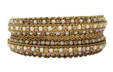 Evogirl Evogirl Bangles Golden Studded Dimond & Pearl Sequence Ethnic Style Bronze Gold(2 * 6),Pack 2/rb1977