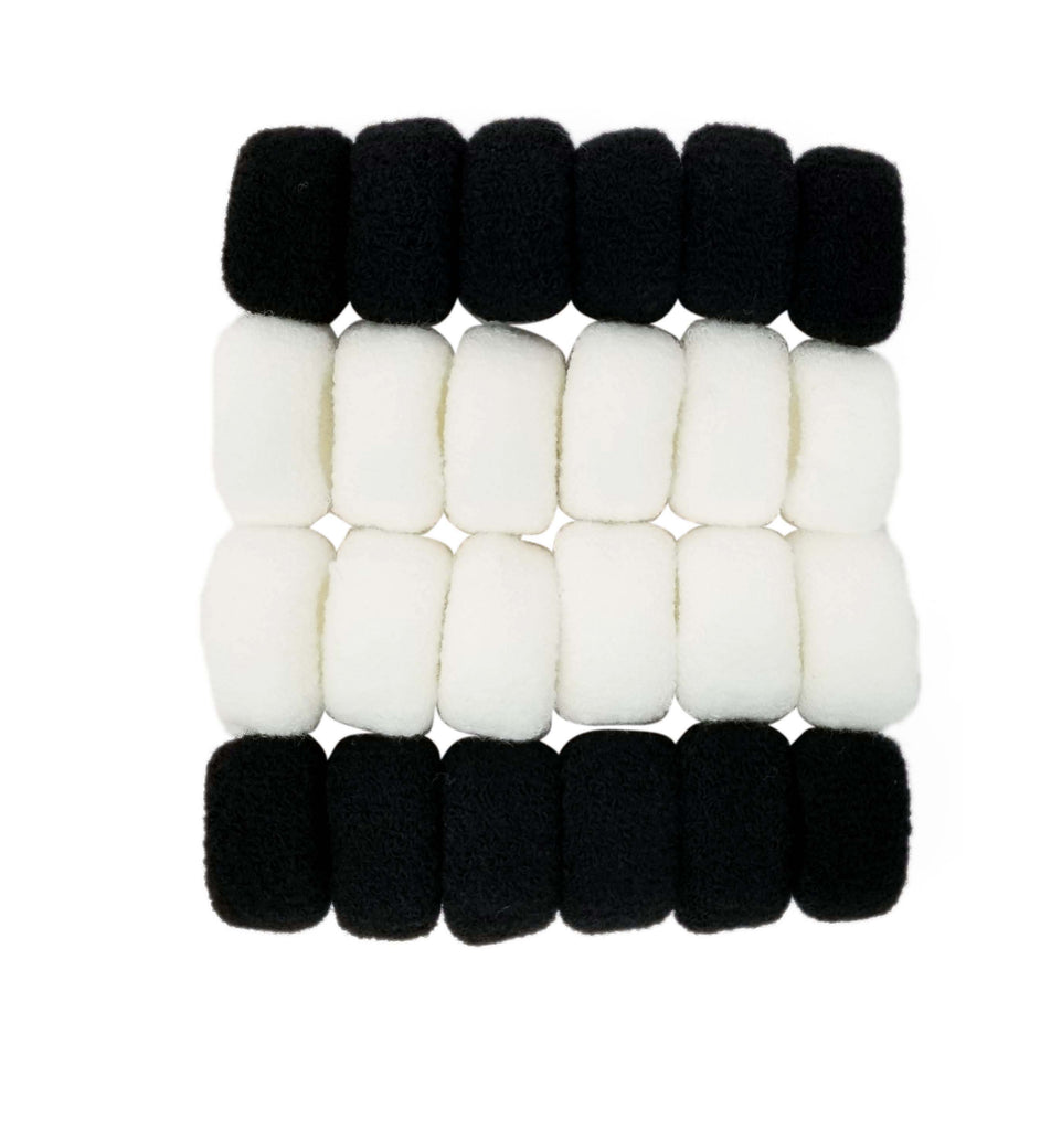 Evogirl Evogirl Rubberband Schooltime Soft Bun Fabric Elastic Cottonwool  Hair Ties Black, White, X/rb1284