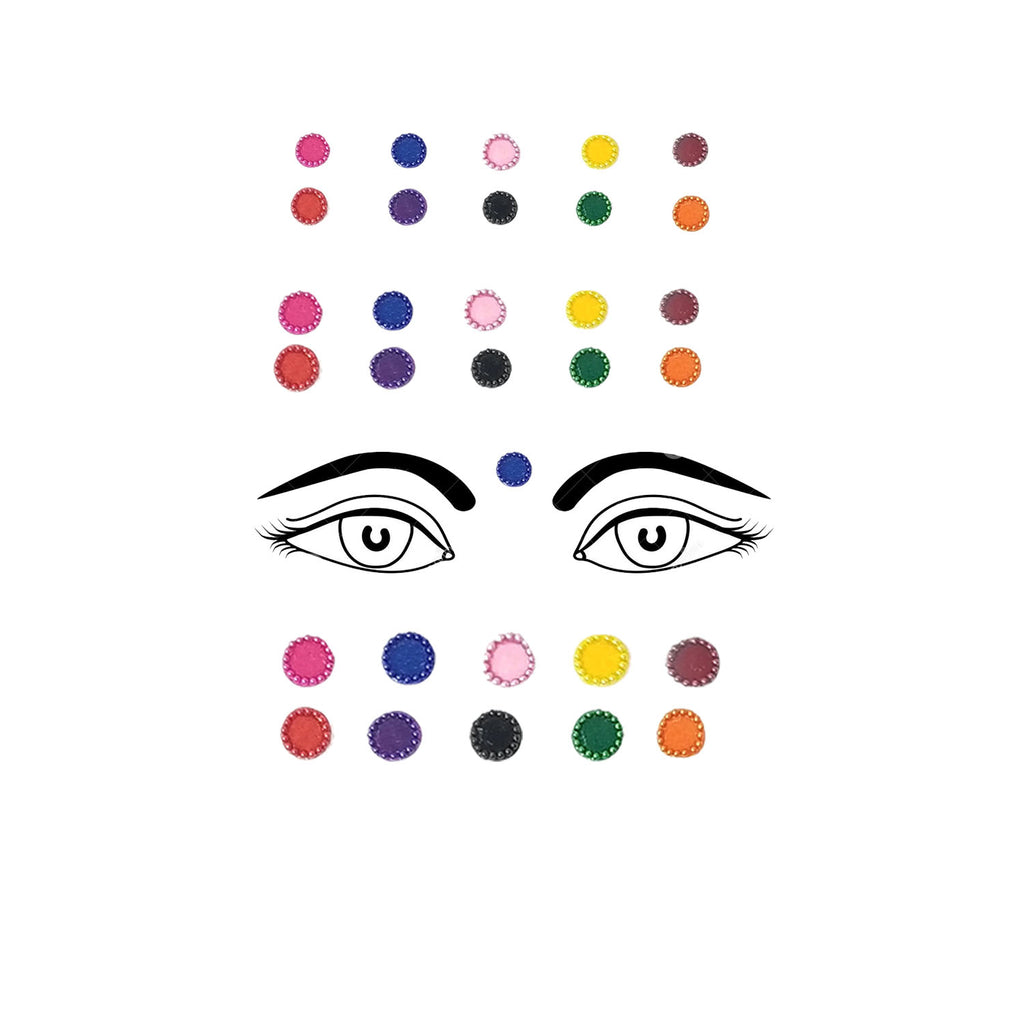 Evogirl Bindi Multicolored Embossed Pearl Border Sequence Designer Evergreen Colors, xs,small,med, For Traditional Wear/Women (Pack Of 30)