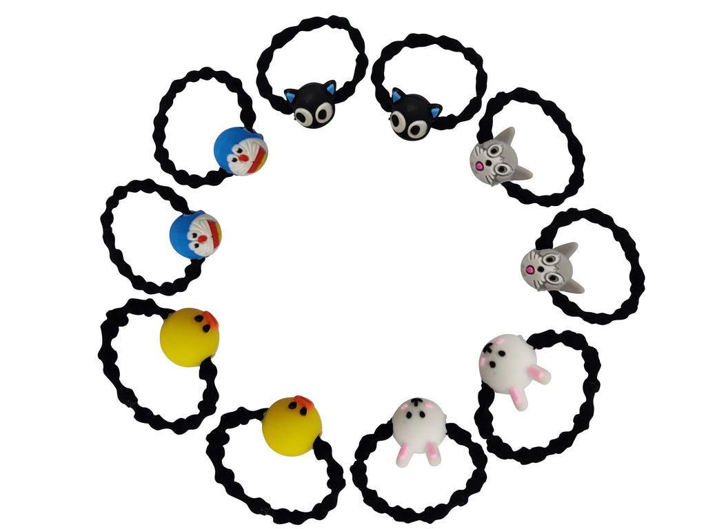 EVOGIRL Kids Ponytail Doremon Cartoon Characters Rubber Bands Wavy Hair Ties Black Small Girls,10 Pk