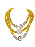 Evogirl Evogirl Fancy Glossy Bids Handmade Tripple Chain Mala Yellow Gemstones Neckless Set, for Women/rb826
