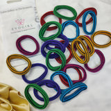 Evogirl Rubber Bands Mix Shade with Lining Soft Fabric Ponytailers Elastic Hair Ties Strechable Hair Bands Multicolor, Medium, for Women/Girls (Pack of 24)