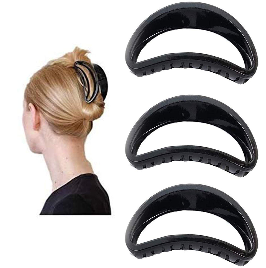 Evogirl Claw Clip Hair Clip All Day Comfort Good Grip Oval Shape Grip Black, Large, for Women/Girls (Pack of 3)