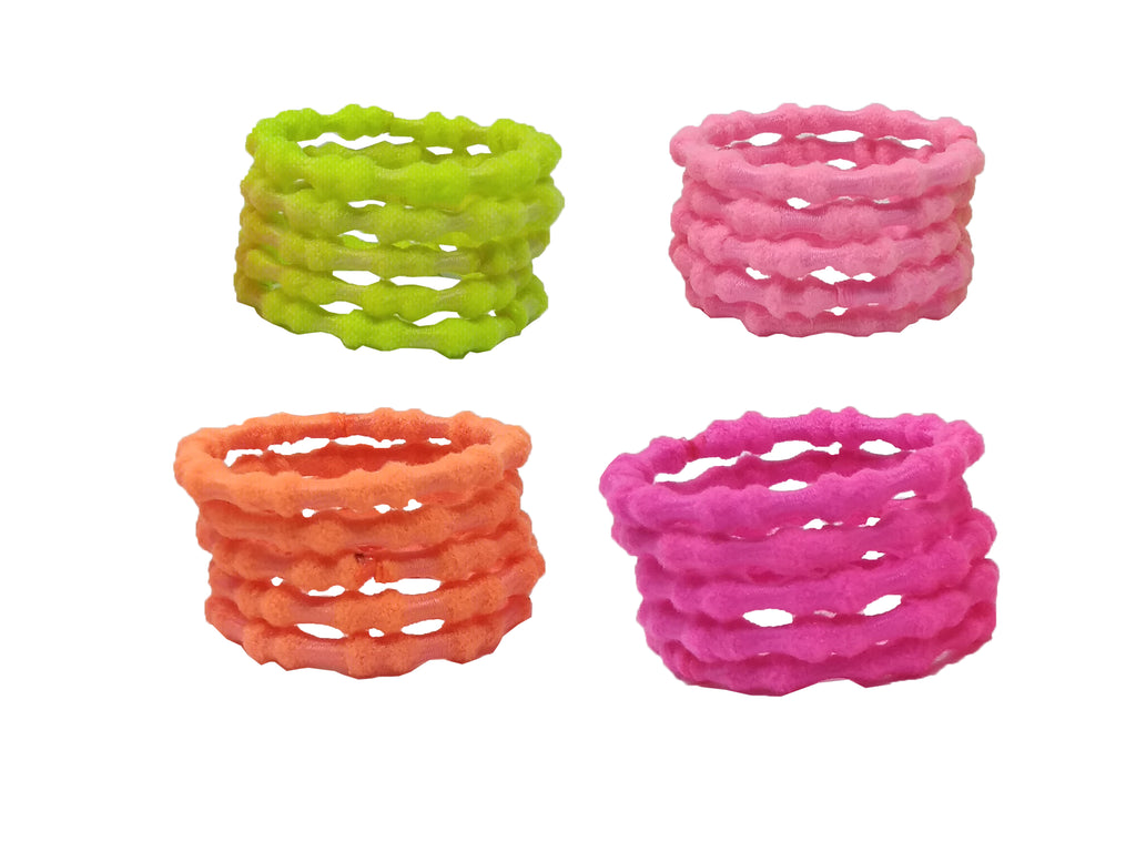 EVOGIRL Kids Ponytail Rubber Bands Soft Hair Ties Neon Small Rubber bands, Girls,50 Pk