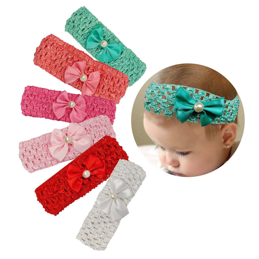 Evogirl Baby Head bandCrochet Pearl Bow Headband Hair Accessories,Small, for Baby Girls/Children/Girls
