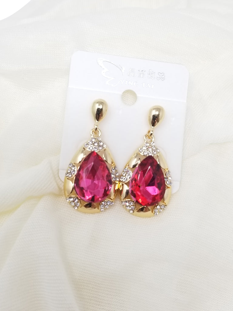 Evogirl Evogirl Fancy Golden 3d Style pear cut Dimond Pink Studded Stones Earings, Small, For Women/rb734