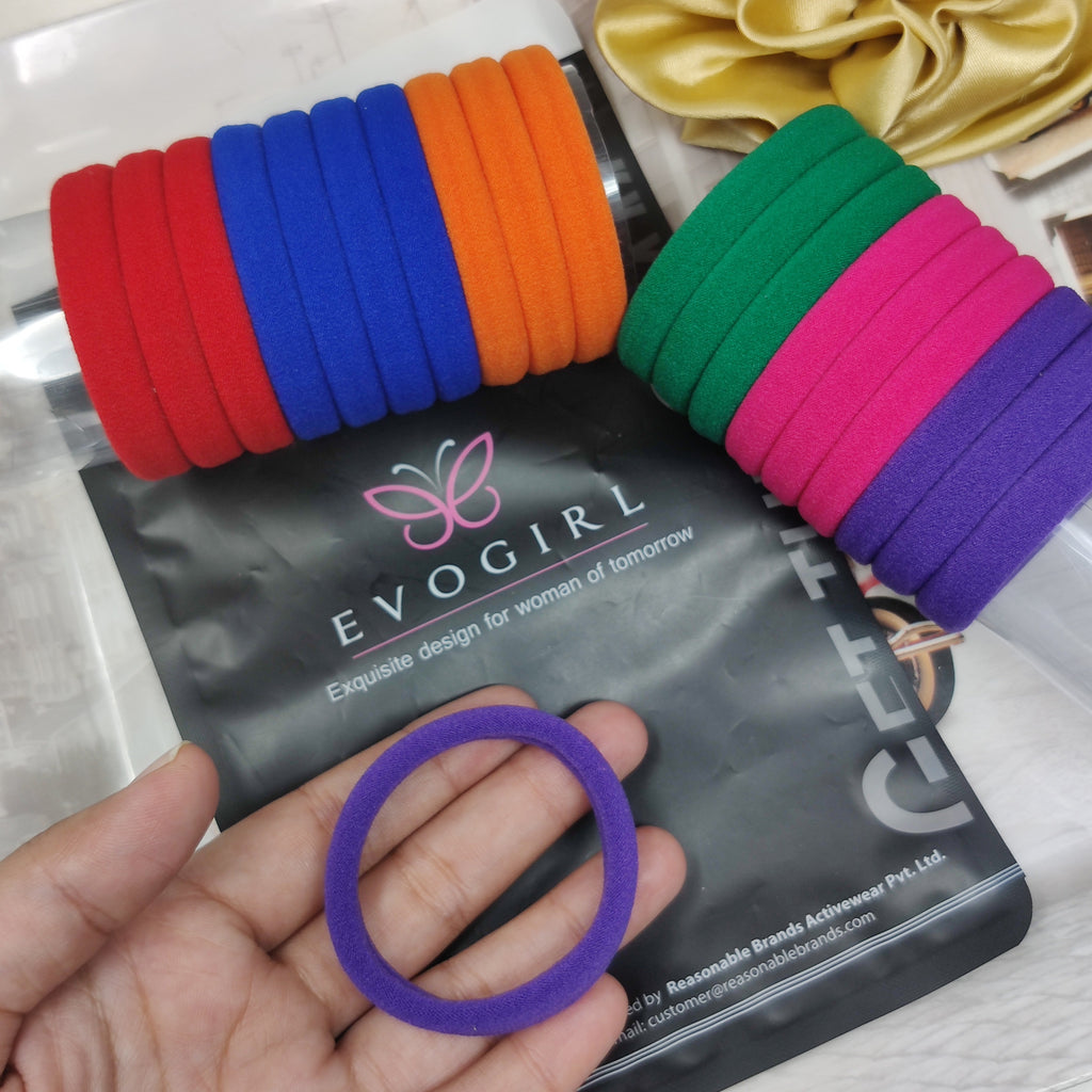 Evogirl hair ponytail holder elastic rubberband soft fabric small size pack of 20
