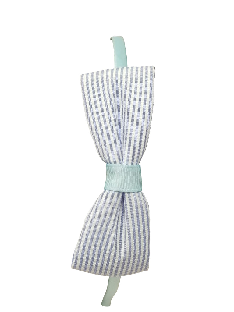 Evogirl Evogirl Head Bands Princess Bow Cotton Soft Fabric Stripes Hair Band for Casual, Blue/rb1160