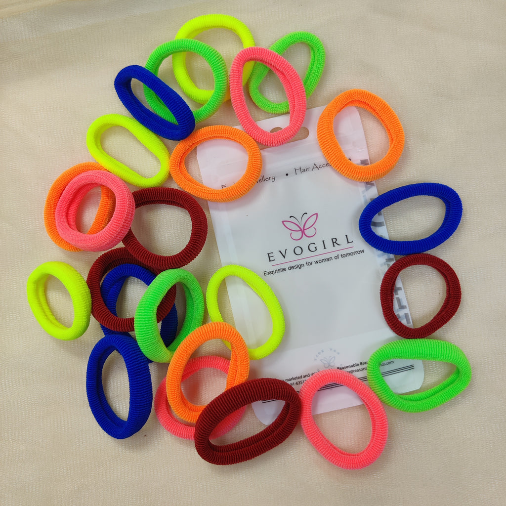 Evogirl Rubber Bands Neon Shade Soft Fabric Ponytailers Elastic Hair Ties Strechable Hair Bands Multicolor, Medium, for Women/Girls (Pack of 24)