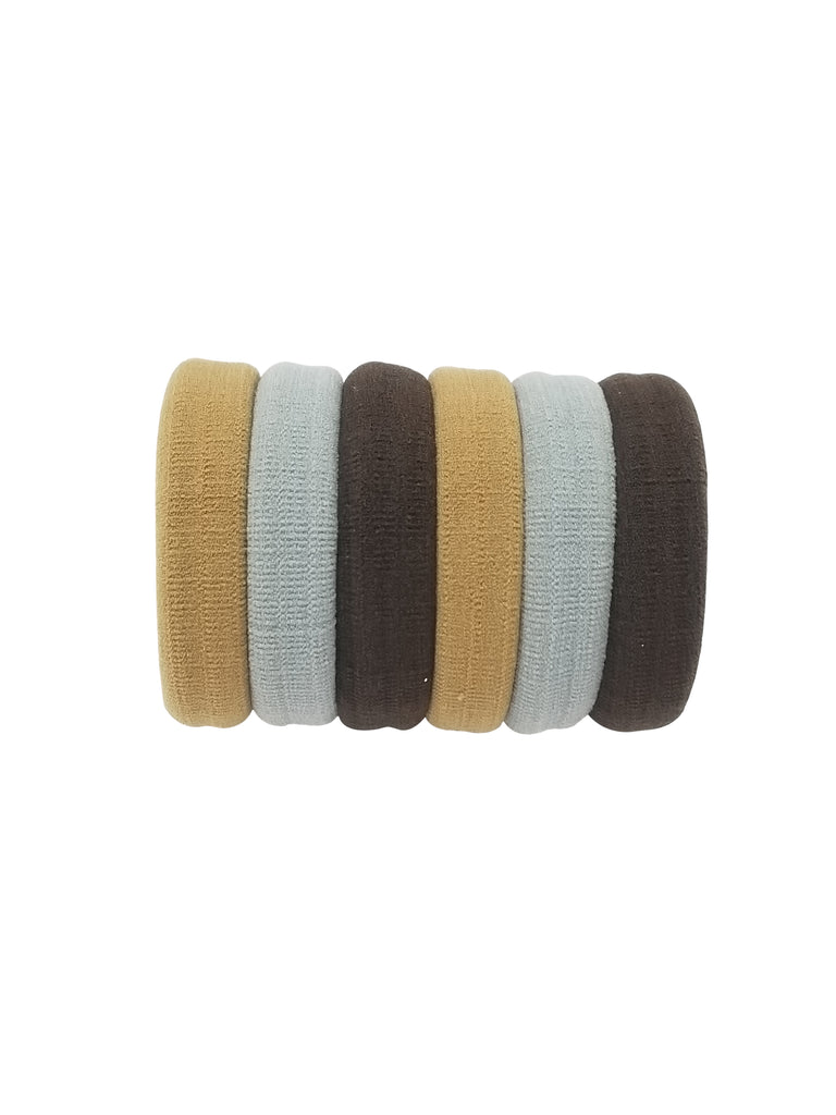 Evogirl Evogirl Rubberbands Schooltime Elastic Rubberband Soft & Strong  1.4cm Thick Brown, Grey, Skin/rb1047
