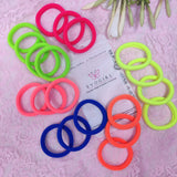 Evogirl Rubber Bands Neon Shade Soft Fabric Ponytailers Elastic Hair Ties Strechable Hair Bands Multicolor, Medium, for Women/Girls (Pack of 20)