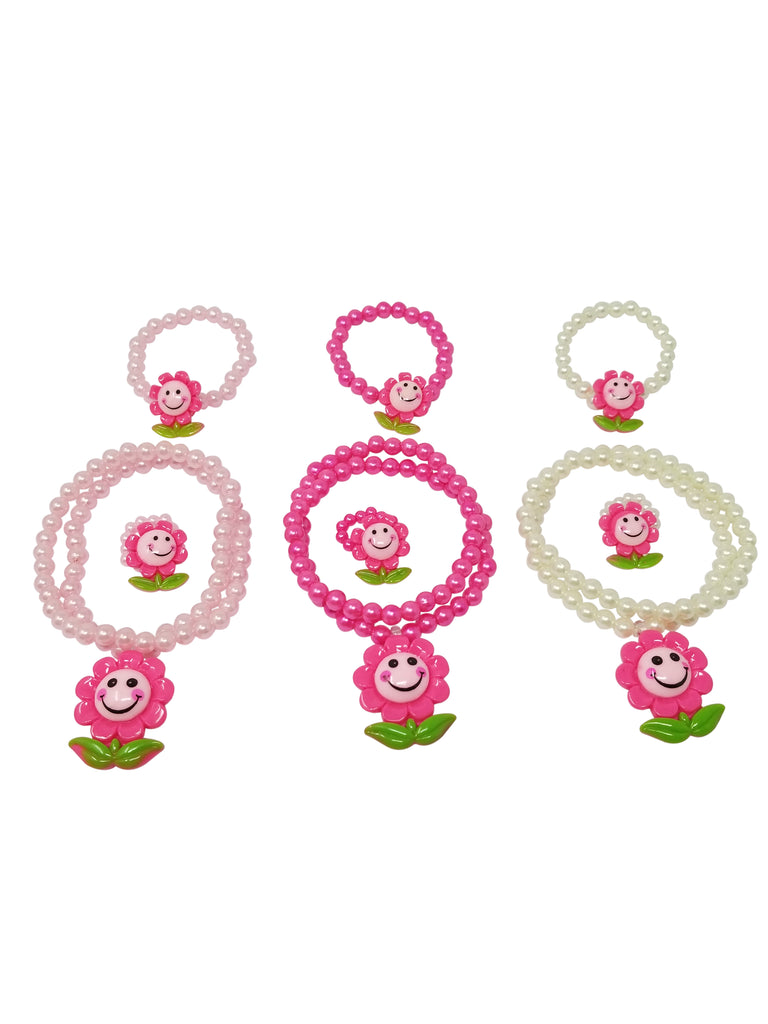 Evogirl Evogirl Necklace with Bracelate & Ring Sunflower Smiley Kidswear Multicolored Small Size for Girls/rb1561