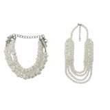 Evogirl Necklace Shiny Bids & Fabric Chain of 4 Self Designed White, Med, for Women
