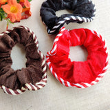 Evogirl Rubberbands Schooltime Scrunchies Velvet Stripes Hair Red,Black,Brown (Pack of 3)