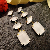Evogirl Earrings Crystalized Stud Rectangle Shape Pestal Frosted Drop Dangle White ,Med, For Women/Girls / Partywear  /rb2108