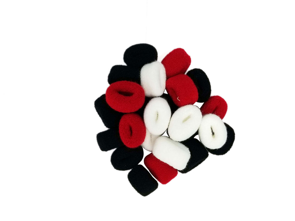 Evogirl Evogirl Rubberband Schooltime Soft Bun Fabric Elastic Cottonwool  Hair Ties Black, Red, White, X/rb1285