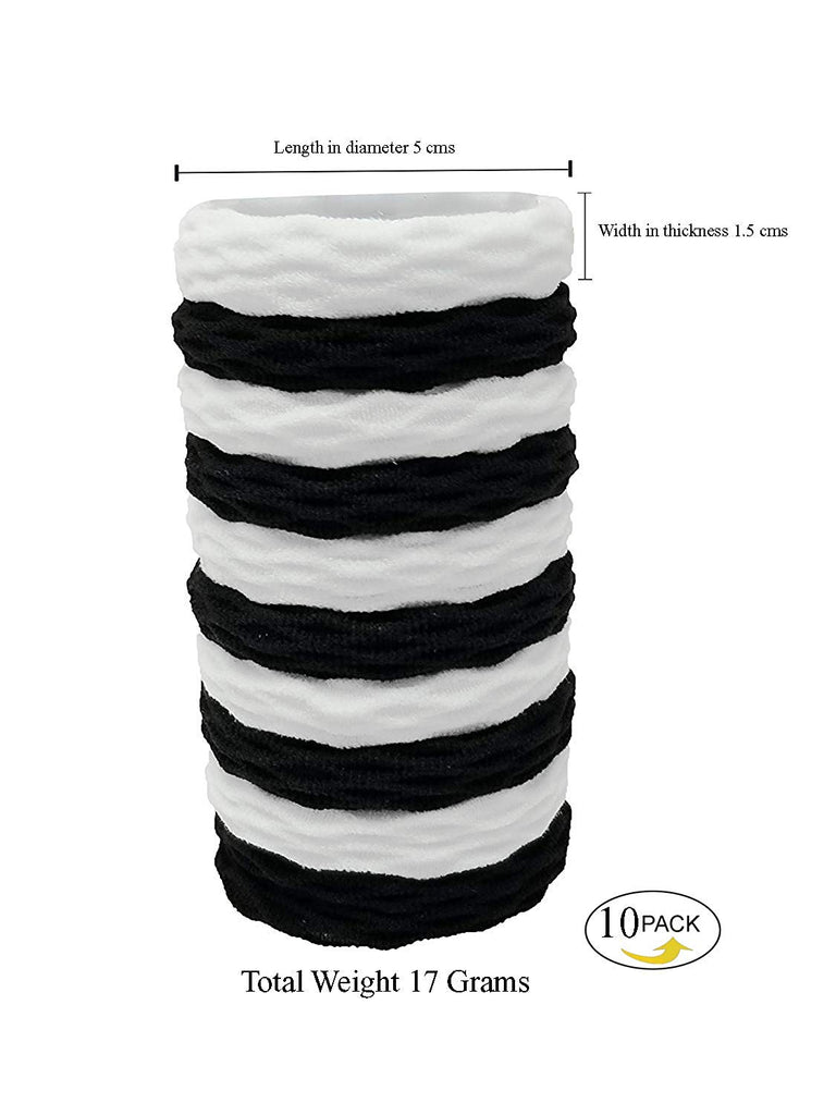 Evogirl Rubberbands Thick & Sturdy No Tangle Soft Ponytailers Hair Ties Black & White,  (Pack of 10)