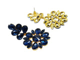 Evogirl Earrings Crystalized Stud Chandeliers Drop Petals & Flower Sparkly Shine Royal Blue ,Med, For Women/Girls  /rb2179