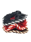 Evogirl Evogirl Rubberbands Schooltime Scrunchies Velvet Stripes Hair Red,Black,Brown (Pack of 3)/rb1065