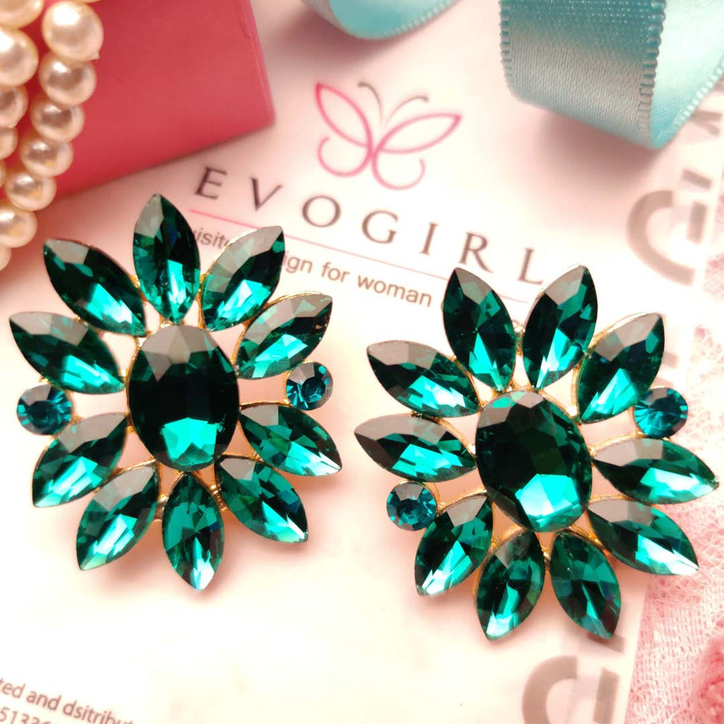 Evogirl Earrings Crystalized Stud Drop Cluster Sunflower Shape Pestal Frosted Green ,Med, For Women/Girls / Partywear  /rb2157