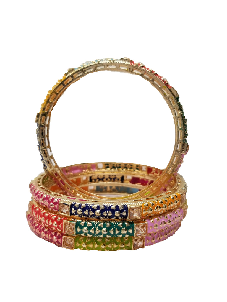 Evogirl Evogirl Bangles Colorful Designer Print Mix Math with Any Outfit Kada ,  (2 * 4),(Pack of 4)/rb1998