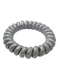 EVOGIRL Spiral Shaped Hair Ties Telephone wire style Grey Shiny Shade  Regular Rubber bands ,6 Pk