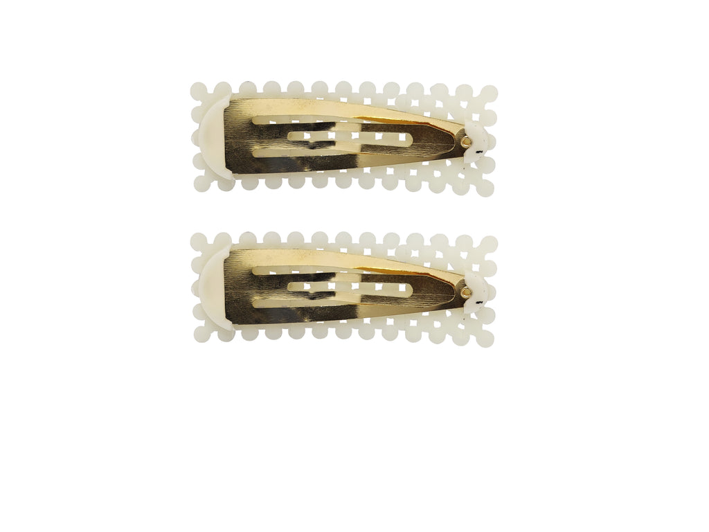 EVOGIRL Pearl Gold Toned Triangular Full Cover Clip Hair Pin Tic Tac Partywear White, Gold Medium