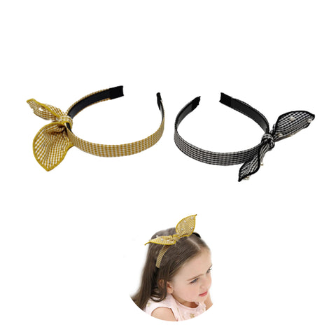 Evogirl Head Bands Quilted Checkers Big Bow Fabric Hair BandBlack, Musterb Yellow,Large, for Women/Girls