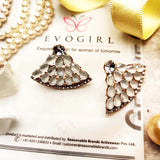 Evogirl Earrings Crystalized Stud Drop Cluster Triangle Shape Sparkly Shine White ,Med, For Women/Girls / Partywear  /rb2159