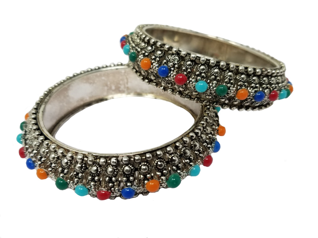 Evogirl Evogirl Bangles Thick Pearl Silver Toned Multicolor, 2 * 4, for Women (Pack of 2)/rb1934