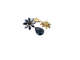 Evogirl Earrings Crystalized Stud Tear Drop Bohemian  Flower Fancy Partywear Style Black ,Med, For Women/Girls  /rb2182