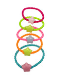 EVOGIRL Kids Ponytail Star Bids Rubber Bands Wavy & Soft Hair Ties Medium Rubber bands, Girls,25 Pk