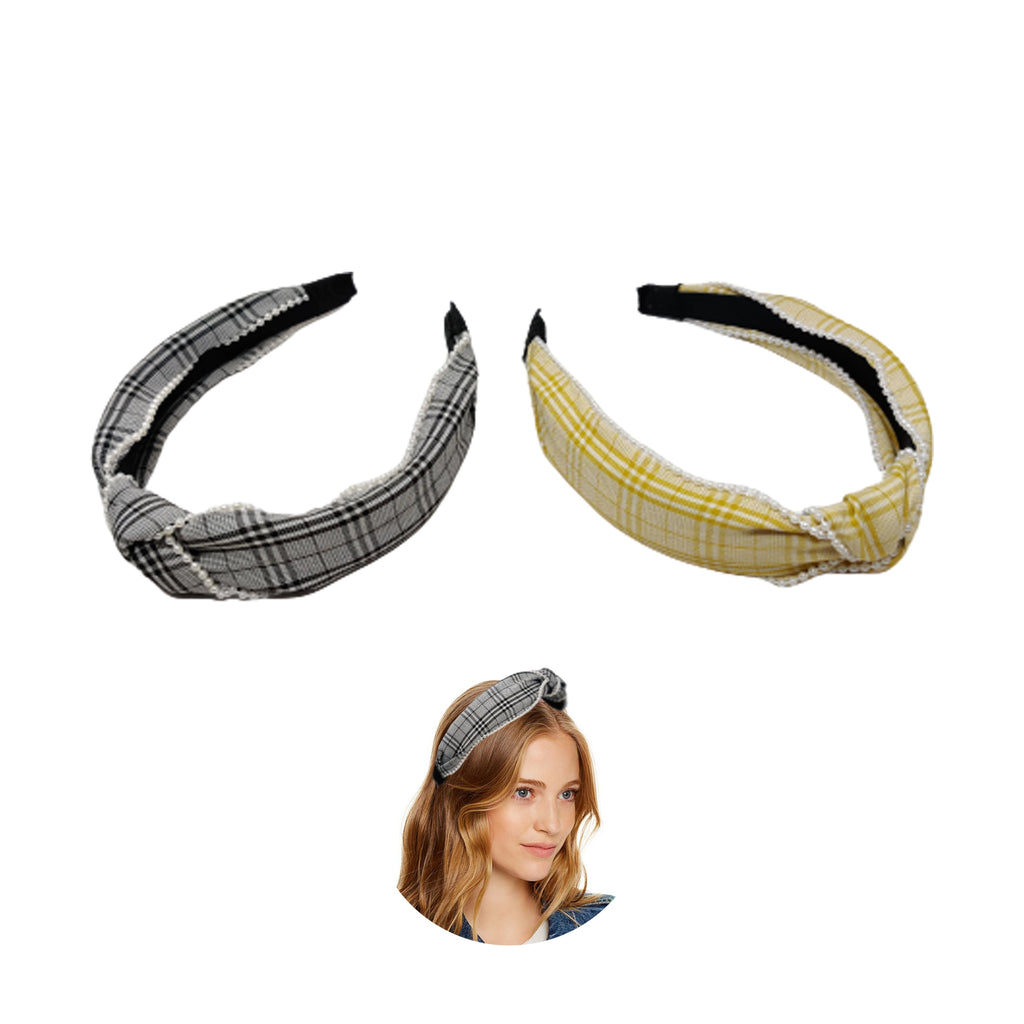 Evogirl Head Bands Pearl Bordered with Checkers Print Twisted Knot Fabric Hair BandMusterd Yellow, Black,Large, for Women/Girls
